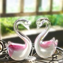 H & D זוג ברבור זכוכית ורוד צלמיות ניפוח יצירות אמנות בעלי החיים Handcraft קריסטל איור בית תפאורה יום הולדת חתונה מתנות