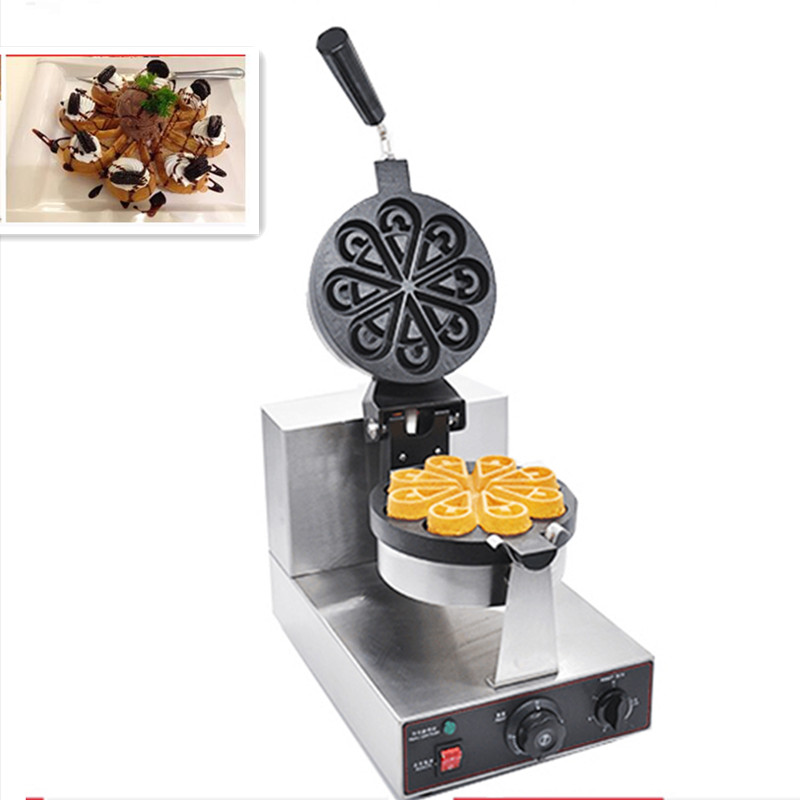 220V Commercial Electric Waffle Maker Machine Flower Heart Shaped Water Drip Shap Muffin Waffle Machine Rotatable Waffle Machine directly factory price commercial electric double head egg waffle maker for round waffle and rectangle waffle