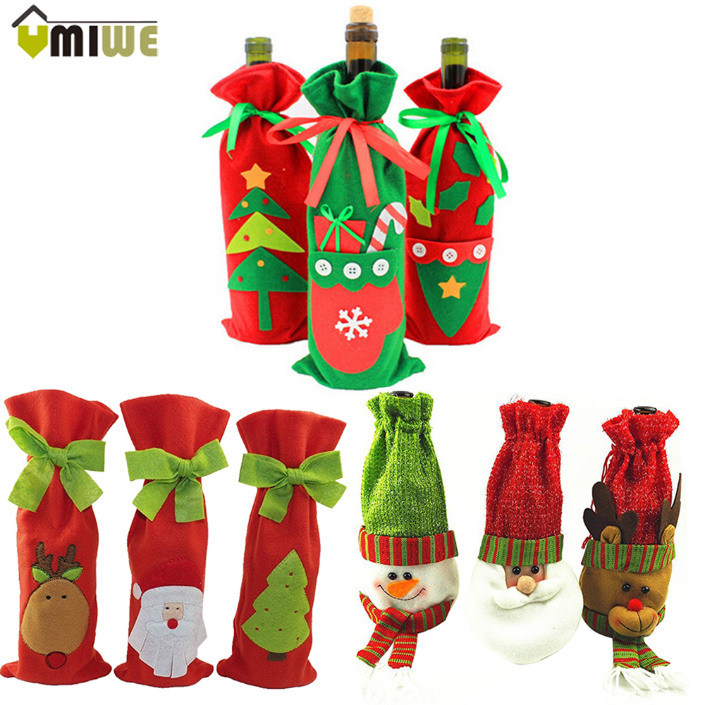 Christmas Wine Bag Decoration Western Restaurant Red Wine Linen ...