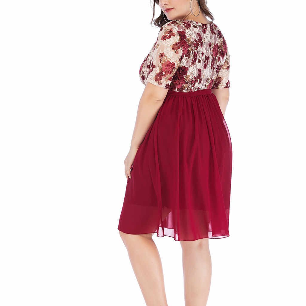 Vestido de talla grande para mujer, vestidos de verano con cuello en V para mujer, vestido de gasa con cinturón de lazo, minivestido con empalme de malla de encaje con estampado, bata 32 # G6