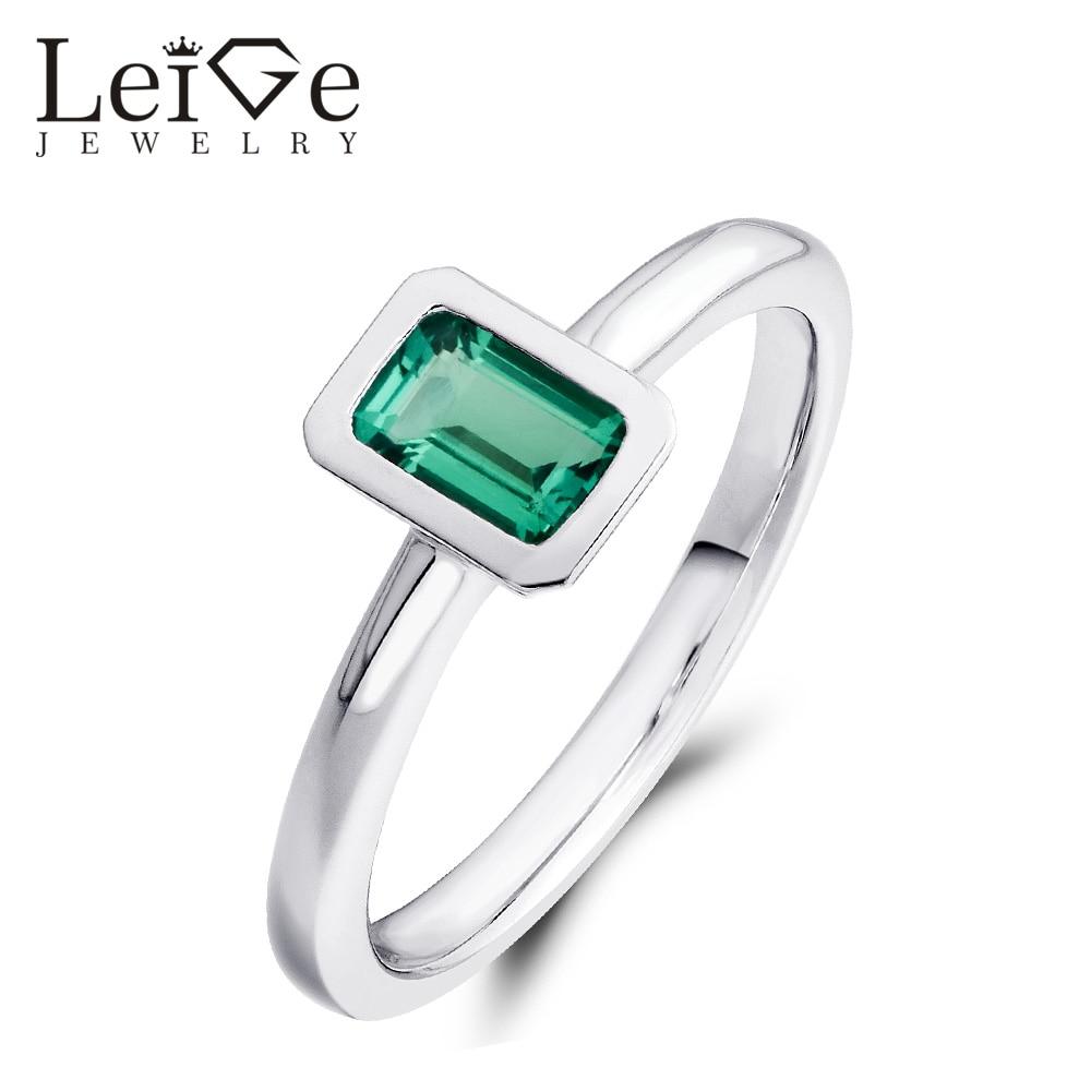 Leige Jewelry Smaragdni prsten Jastuk Set Bezel Set Zelena 925 - Fine nakit