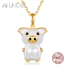 ALLNOEL Solid 925 Steriing Silver Pendants Necklace For Women White Enamel Piggy Black Zircon Charms Choker Neckalces Jewelry