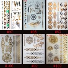6pcs Gold Blue Temporary Tattoo Body Art Metallic Silver Metallic Tattoos Gold Foil Golden Jewelry