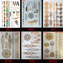 6шт Высокое качество Золото Синие Временные искусства тела татуировки Металлические серебряные металлические татуировки Золото Оптовые Фольги Золотые украшения