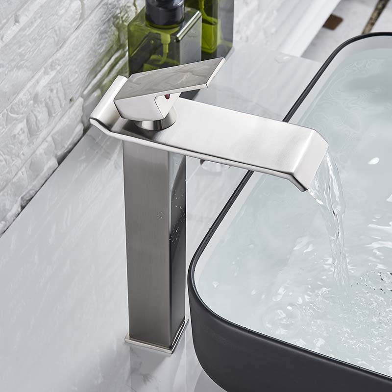 Image 3 - Square Chrome Waterfall Basin Sink Faucet Bathroom Mixer Tap Single Handle Wide Spout Vessel Sink Fauet Hot Cold Water Tap-in Basin Faucets from Home Improvement