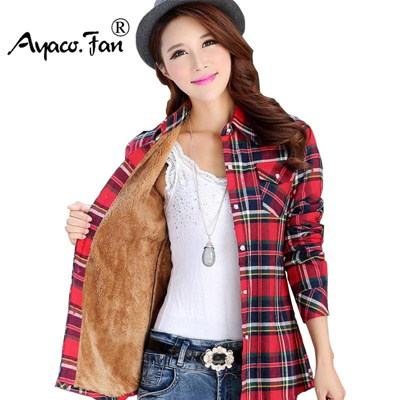 Women Shirt Thick Tops Blusa Camisa Femininas Autumn Winter Warm Cotton Long Sleeve Velvet Plaid Blouse Flannel Office Shirts