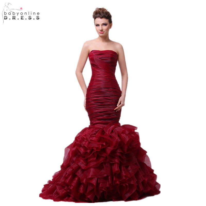 Babyonline Ruffles Organza Burgundy Mermaid   Prom     Dresses   2019 Strapless Formal Evening   Dresses   Party Gowns vestido de festa