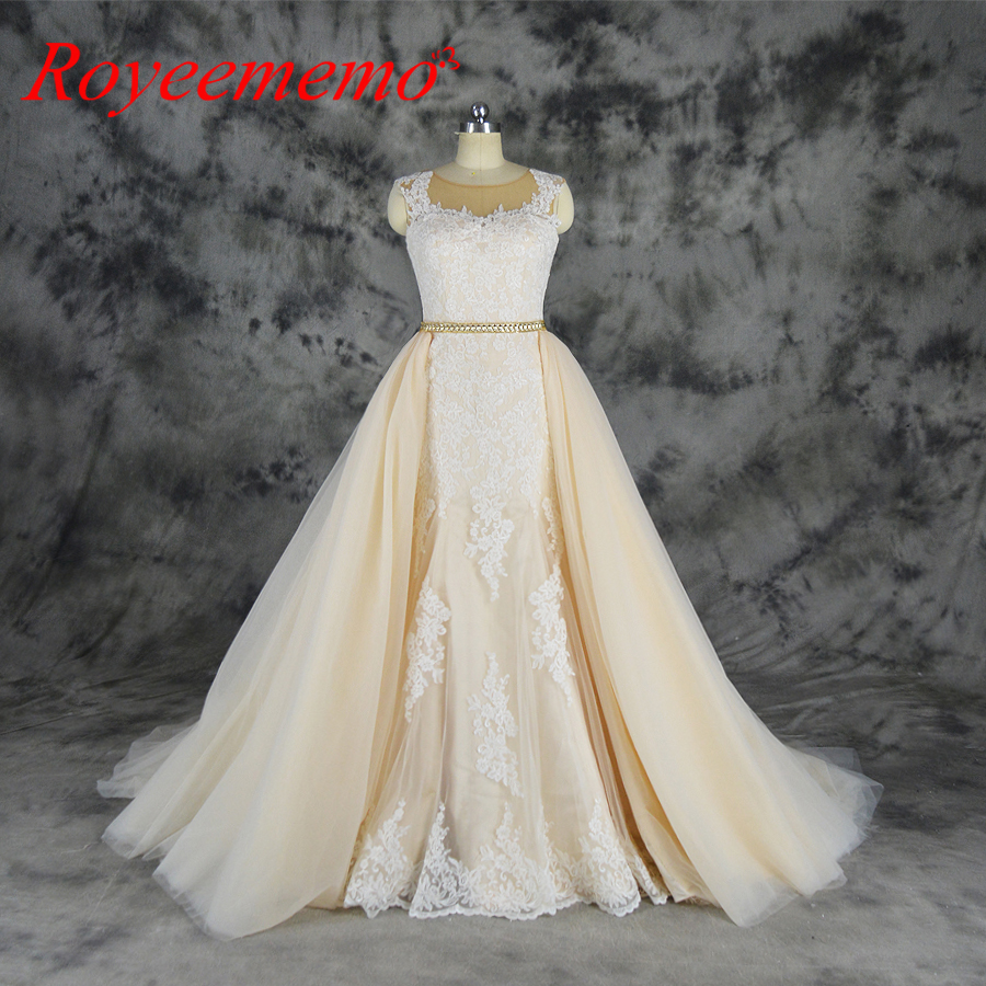 2019 Ivory Over Champagne Tulle Wedding Dress Detachable