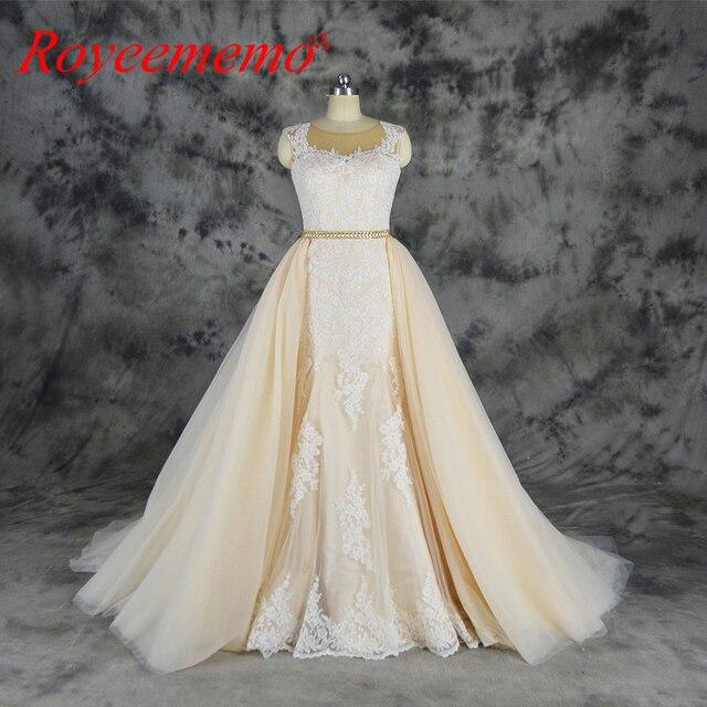2019 ivory over champagne tulle wedding dress detachable skirt ...