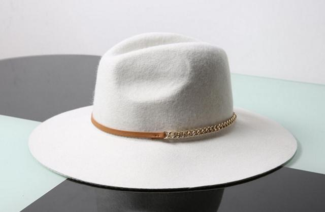 e611a24cc9e 6pcs/lot Women White Floppy Brim Pure Wool Fedora Hat PU Ribbon and Chain  Lady Woolen Fedoras Cap for Aututmn Winter Trilby Caps