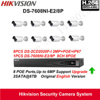 Hikvision Security Camera System 2MP Bullet IP Camera Outdoor 1080P 8pcs DS 2CD2020F I POE IP67