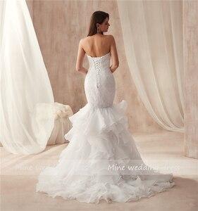 Image 4 - Querida decote design babados organza vestido de casamento sereia renda plus size vestidos de noiva vestido de festa longo de luxo