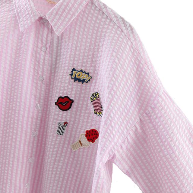 Women cute lip popcorn loose striped blouse cotton oversized Icecream drinks patch shirt long sleeve work office wear top