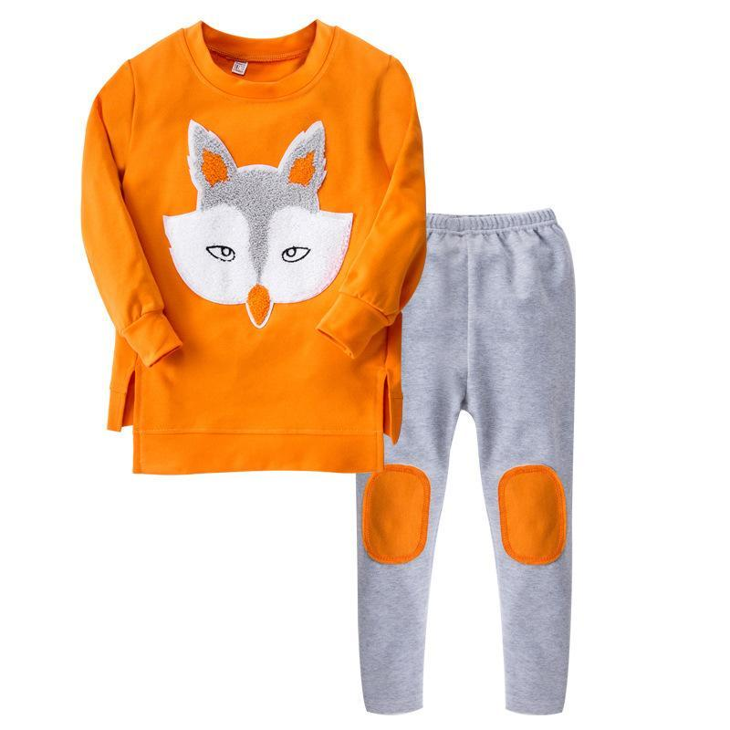 Spring Autumn Children Clothing Sets Cartoon Fox Girls Sports Suits Long Sleeve Shirts Legging 2pcs Kids Clothes for Girls autumn winter boys girls clothes sets sports suits children warm clothing kids cartoon jacket pants long sleeved christmas suit