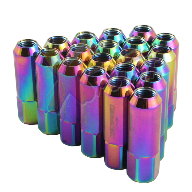 JDMSPEED EXTENDED FORGED ALUMINUM TUNER RACING NEO CHROME  LUG NUT FOR FORD MUSTANG 20PC 60M