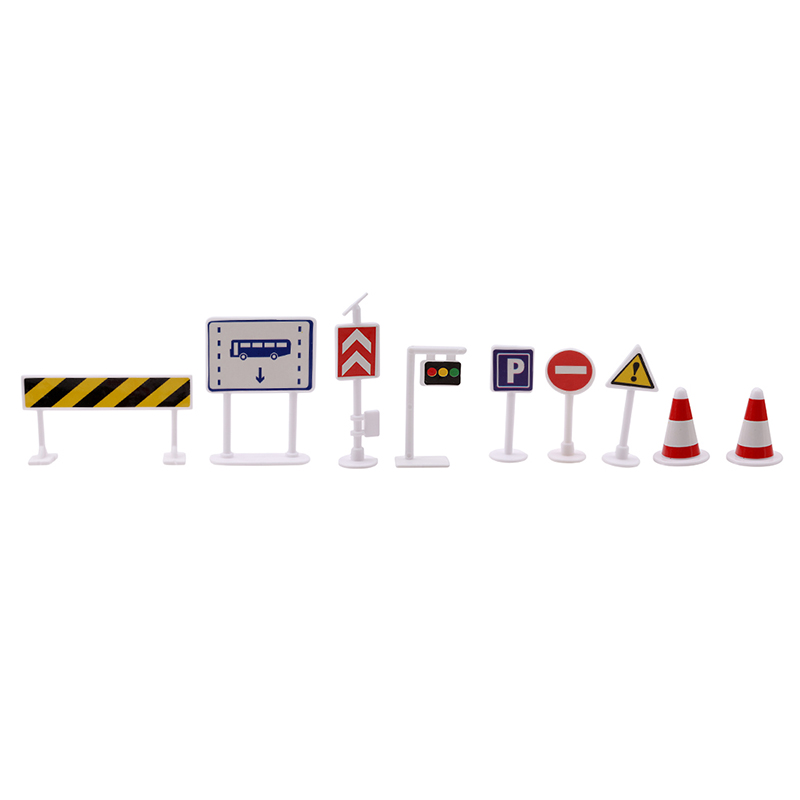 9pcs/lot DIY Mini Signpost Traffic Scene Educational Toys Cheap Car Toys Gift For Children Traffic Light Signs Model Toy