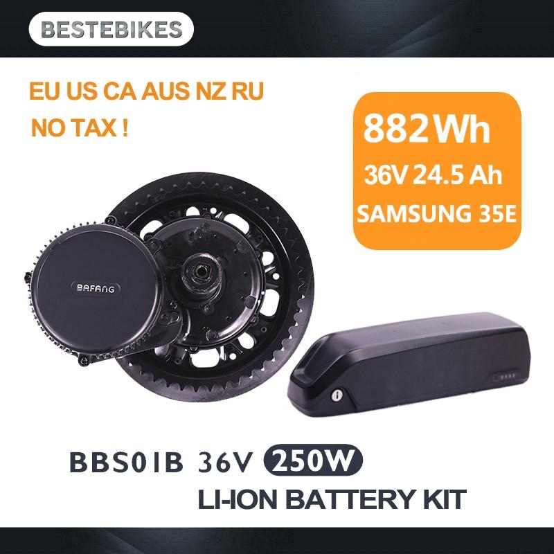 Bafang motor BBS01 BBS01B 250 W 36 v 24.5ah Samsung bateria meados de acionamento elétrico do motor ebike kit de conversão bicicleta elétrica nenhum imposto