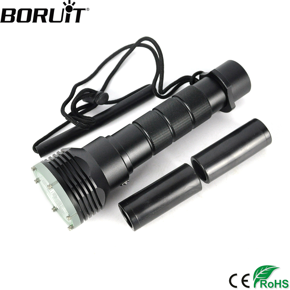 BORUiT 5000LM Strong Bright XML L2 LED Scube Diving Flashlight Underwater Torch Outdoor Diver Lantern 18650/26650 Battery 5x xml l2 12000lm led waterproof diving flashlight magswitch diving torch lantern led flash light 2x18650 battery charger