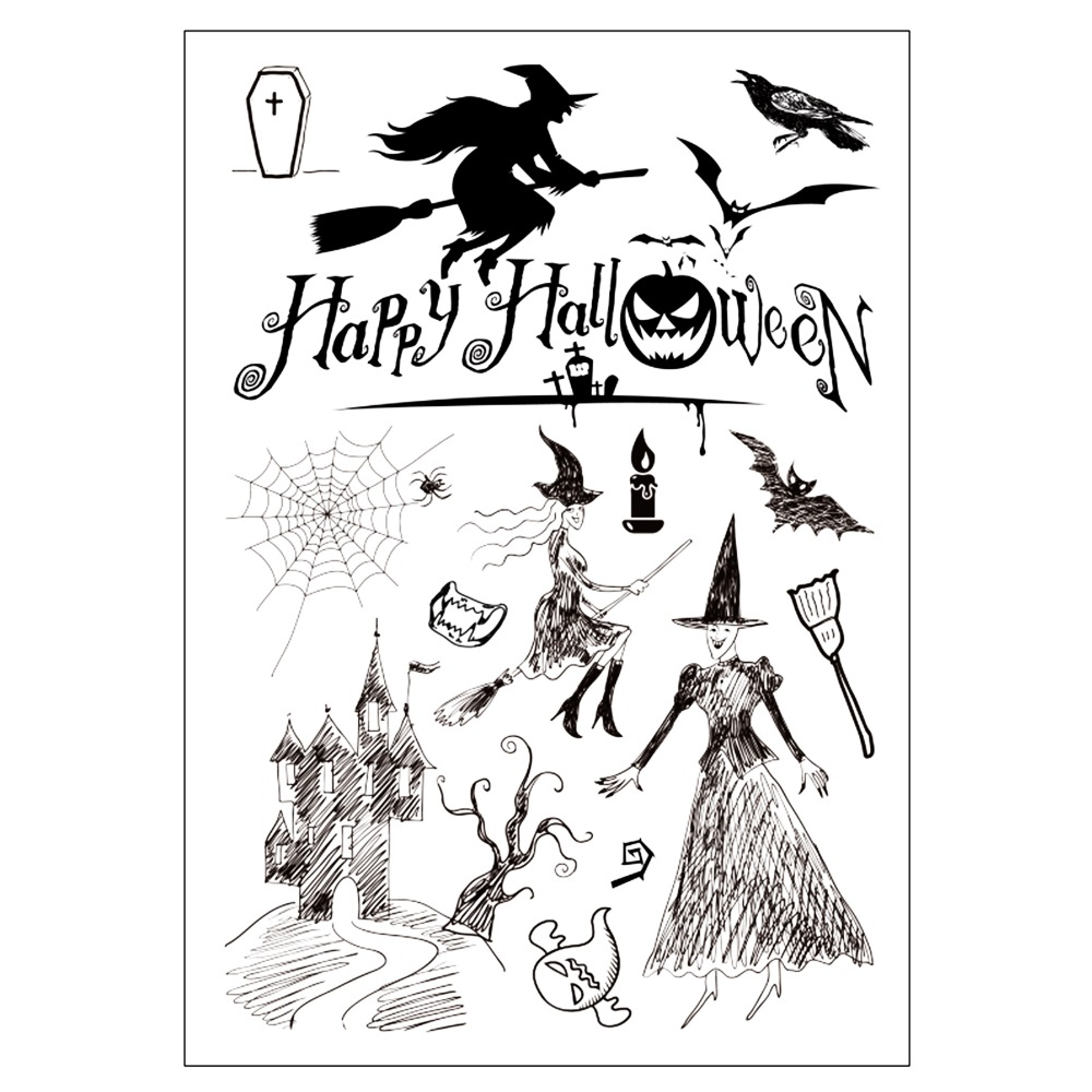 Happy Halloween Transparent Clear Silicone Stamp/seal for DIY Scrapbooking/photo Album Decorative Clear Stamp Sheets cartoon animals transparent clear silicone stamp seal for diy scrapbooking photo album decorative clear stamp sheets a555