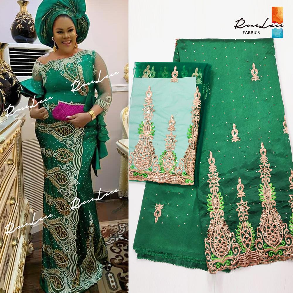 2019 High Quality 5 2 Yards African George Lace Fabric With Net Blouse Green Sequins And