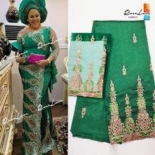 2019 High Quality 5+2 Yards African George Lace Fabric With Net Blouse Green Sequins And Stones Embroidered George Lace Fabric