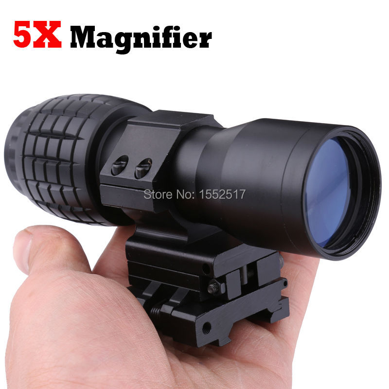 Red Dot Sight Scope 5x Magnifier Quick Flip Scope Flip To Side Mount Fit For 20mm Weaver Mount water resistance 19 24w led constant current source power supply driver 90 265v