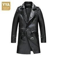 Италия Бизнес Для мужчин из натуральной кожи длинная куртка двубортный Belted Blazer Тренч Slim Fit пальто плюс Размеры L 4XL ветровка