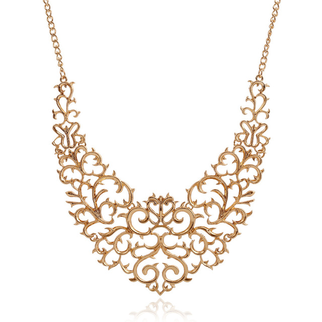 Metallic Carved Statement Necklace