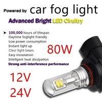 2 pieces LED 80W Headlight Lamp 6000k White Car fog light Bulb 9005 9006 12V 24V best selling