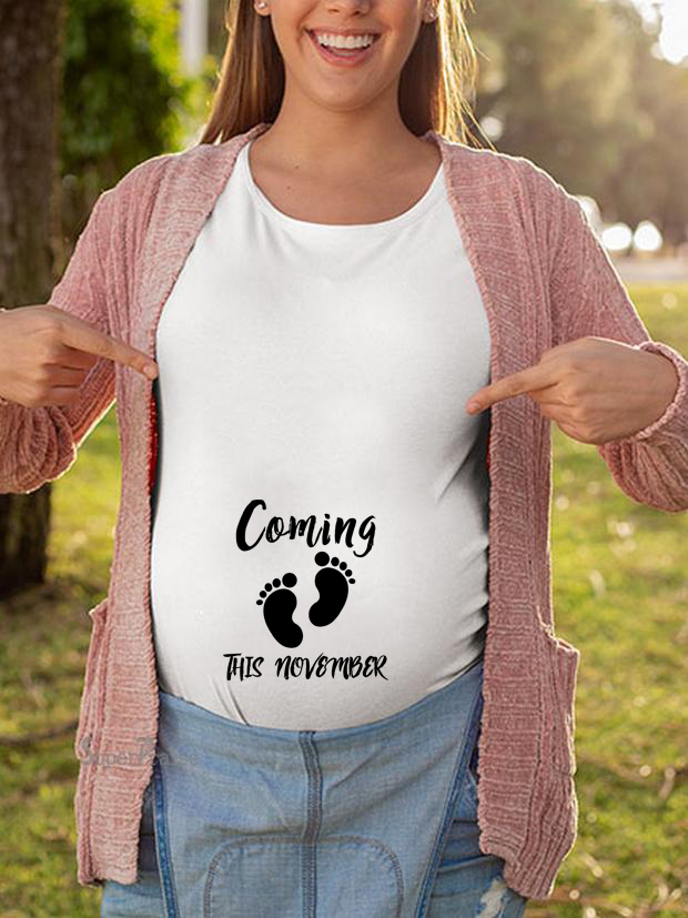 Pregnancy ShirtMaternity Cute Coming This November Letter Print O-Neck Short Sleeve Tshirt Pregnant Tops Ropa Embarazada Verano