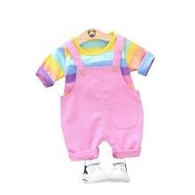 цена на 2019 Autumn Baby Girls Boys Clothes Suits Children Cotton Candy T Shirt Strap Pants 2PCS/Set Infant Clothing Casual Kids Costume