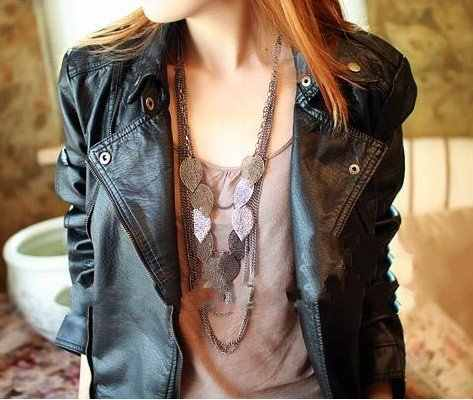 Hot Selling New Arrival Free Shipping Silver Light Leaf Multi-Layer Long Necklace N55