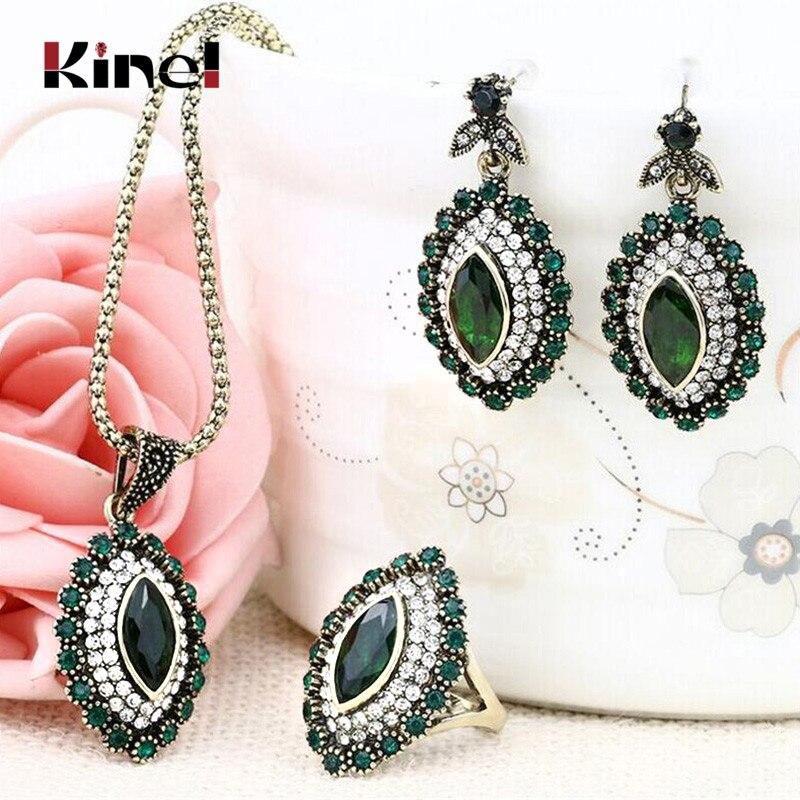 Kinel Luxury Indian Jewelry Set Green Crystal Flower Statement Necklace Earring Lozenge Ring Fashion Rhinestone Wedding Jewelry