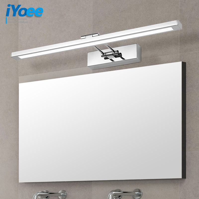 iYoee Modern Stainless Steel LED Wall Lights with Swing arm Bathroom Sconces Lights Over Mirror 41cm 55cm 80cm 3 lengths Fixture