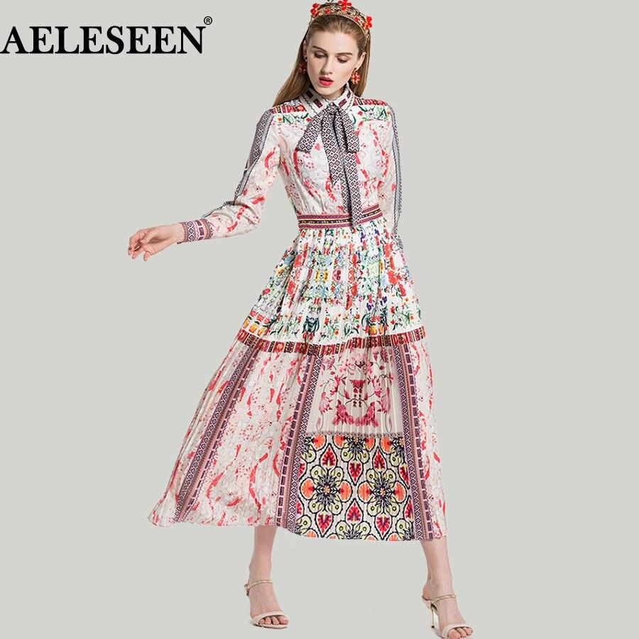보헤미안 롱 드레스 2018 봄 여름 우아한 패션 보우 인쇄 꽃 드레스 기하학 pleated 럭셔리 드레스 여성을위한-에서드레스부터 여성 의류 의  그룹 1