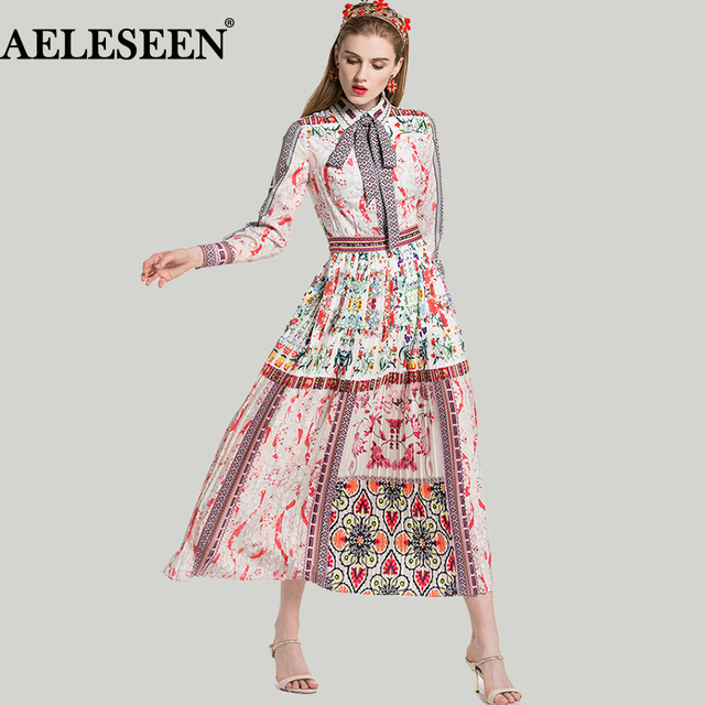 Bohemain Long Dress 2018 Spring Summer Elegant Fashion Bow Print