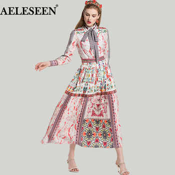 Bohemian Long Dress 2018 Spring Summer Elegant Fashion Bow Print Flower Dresses Geometric Pleated Luxury Dress for Women - DISCOUNT ITEM  38 OFF Women\'s Clothing