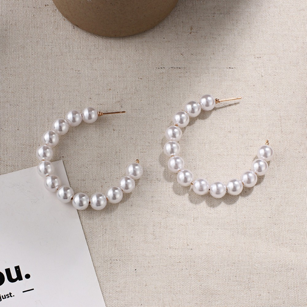 HTB1YDPwU4naK1RjSZFBq6AW7VXaQ - New Boho White Imitation Pearl Round Circle Hoop Earrings Women Gold Color Big Earings Korean Jewelry Brincos Statement Earrings