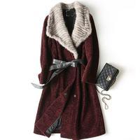 Женское зимнее пальто из овечьей шерсти, женское Норковое Пальто с натуральным мехом, длинное пальто с меховым воротником, приталенное паль