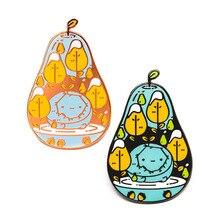 Pears Enamel pin cute fruit brooch pearringpattern mosaic virus lapel badge artist gift  kawaii themed adventure time jewelry