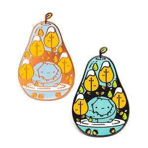 Image 1 - Pears Enamel pin cute fruit brooch pearringpattern mosaic virus lapel badge artist gift  kawaii themed adventure time jewelry