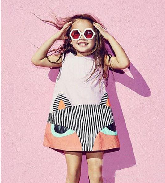 Gaun Katun Kartun Minion Singkat 2016 Anak-anak Bayi Perempuan Pakaian Musim Panas Tanpa Lengan Hewan Mini Dress Balita Pakaian Lucu