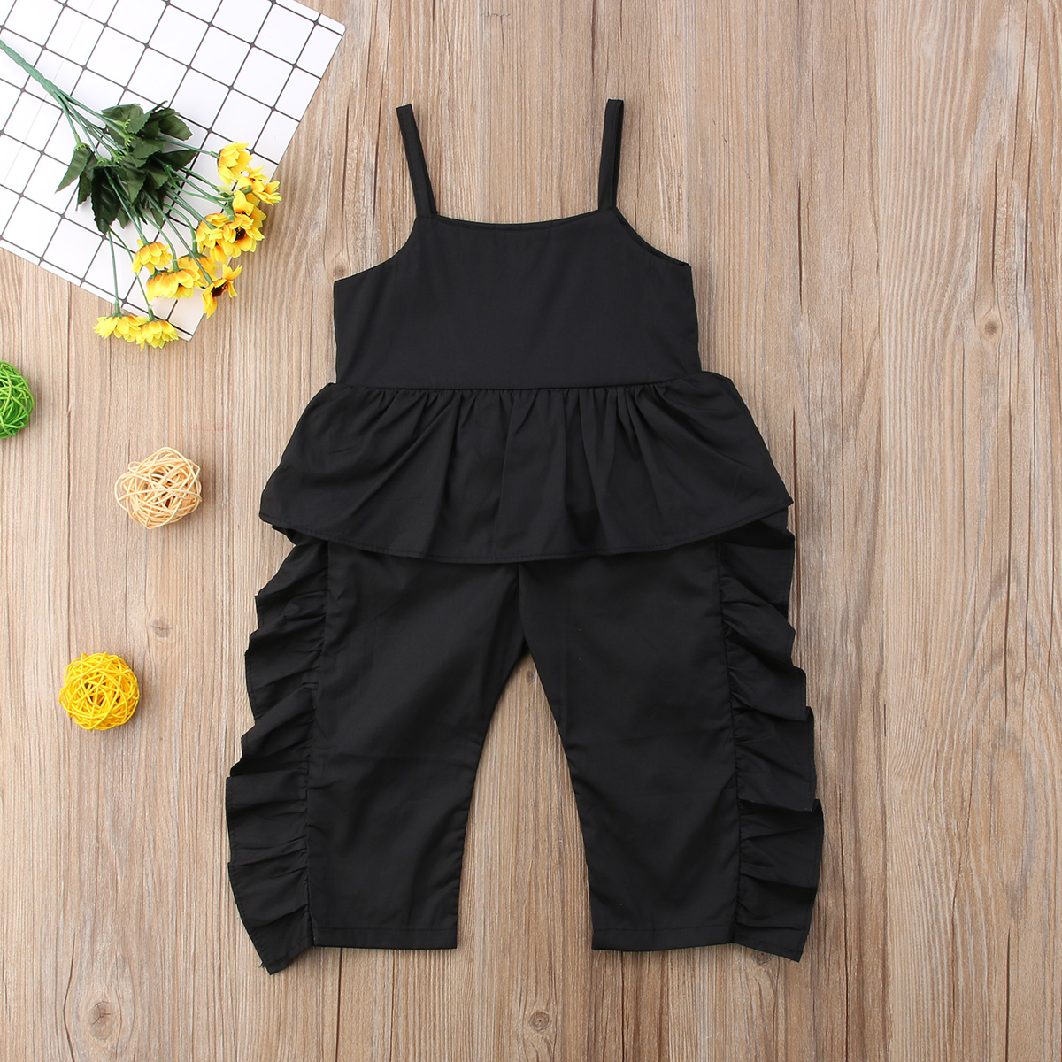 88d7aa96f1 2018 Toddler Baby Girls Ruffle Strap Romper Black Jumpsuit Overalls  Leggings Outfit Fashion Summer Clothes-in Rompers from Mother   Kids on  Aliexpress.com ...