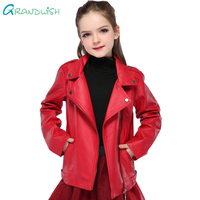 Grandwish Girls Spring Red Leather Coat For Children Kids PU Leather Jackets For Girls Solid Casual