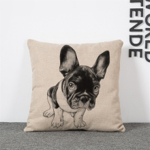 Dog  Cotton Linen Cushion Cover Printed 18×18 inches