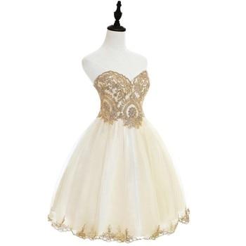 Elegant 2019 Champagne Tulle Short Prom Dresses Sweetheart Neck Sleeveless Gown vestidos de gala In Stock 3