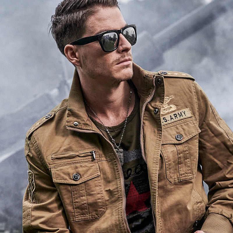 Новинка 2018, осенне-зимняя Военная тактическая куртка пилота, мужская хлопковая куртка-бомбер размера плюс 6XL, Повседневная куртка для полетов ВВС