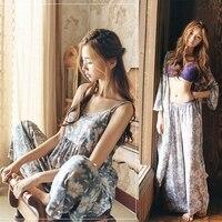 THINKTHENDO Floral Print 3 Pieces Pajama Set Camisole Pants Cardigan Style Tops Sleepwear