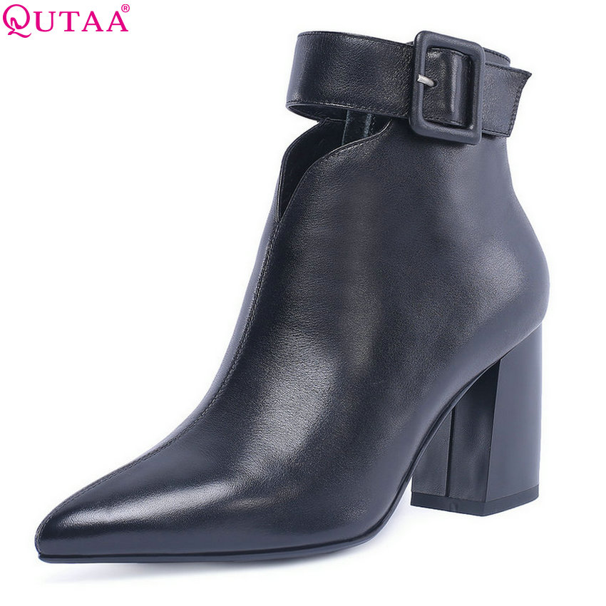 QUTAA 2019 Women Ankle Boots Genuin Leather +pu All Match Pointed Toe Square High Heel Women Motorcycle Shoes Size 34-42 women s ankle boots strappy pointed toe vogue comfy all match shoes