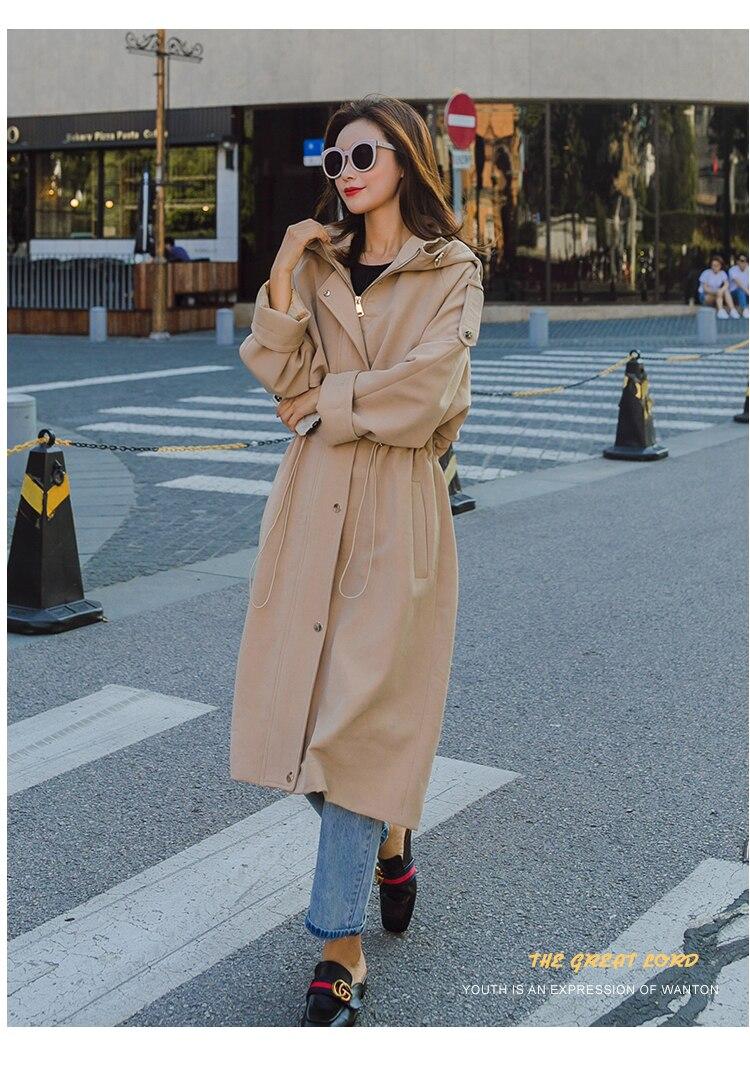 Nouvelle À Style Mode Pour Manches Les Tranchée angleterre khaki Tempérament Longues Capuchon De vent Blue Printemps Coupe Femmes Survêtement Manteau gEqXAdA